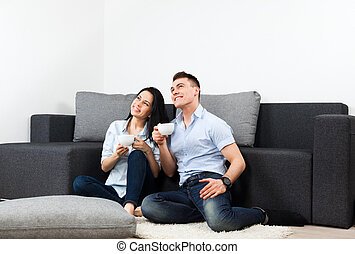 young couple living room