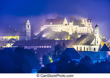 Fussen Germany - Misty night in Fussen, Germany.