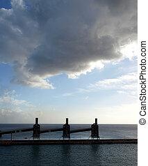 Dark cloudy sky over silos in Barbados