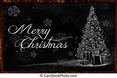 Merry Christmas tree Drawing on blackboard