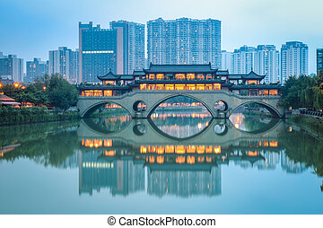 chinese anshun bridge at dusk