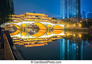 chengdu ancient bridge at night