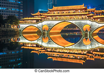 chengdu old bridge at night