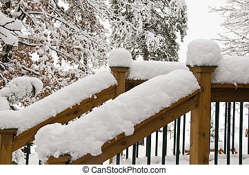 Snow Capped Rails - A pair of outdoor deck rails show the...