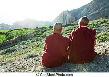 Two Indian tibetan monk lama - Two Indian tibetan old monks...