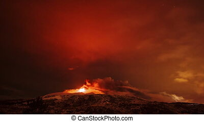 Etna Eruption at night. Sicily, Italy. Time Laps. 4K - Etna...