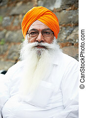 adult indian sikh man - Portrait of elderly Indian sikh man...