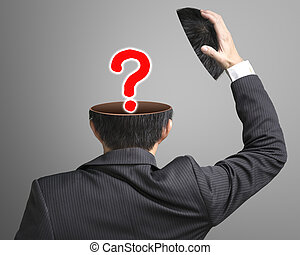 Big question mark pop out businessman head in gray...