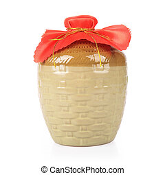 rice wine jar on white background - rice wine in the jar,...