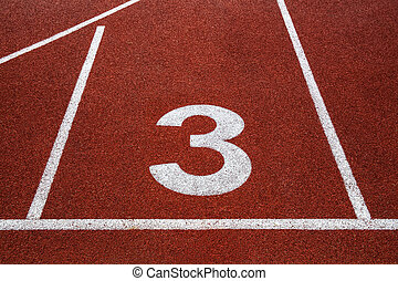 Running track with number 3, texture for background. - White...