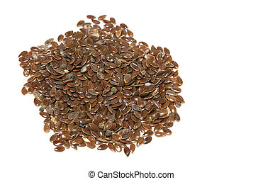 flax seeds - close up of flax seeds isolated on white...