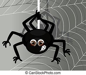 Wektor, Ilustracja, pająk