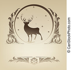 Christmas standing raindeer with rich ornament - Ornate...