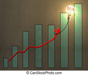 Glowing lamp balloon with 2014 inside hanging growth red arrow flying with chart on concrete wall background
