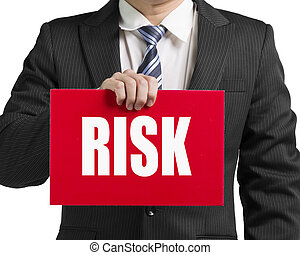 Businessman use one hand to hold a red board with word...