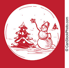 Sketch Christmas symbol snowman with tree - Christmas...