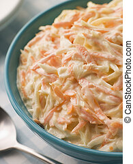 Bowl of Coleslaw with a Spoon