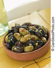 Dish of Mixed Marinated Olives