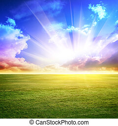 Sky and green meadow Summer background