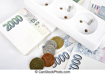 money concept of expensive energy bill - power cord and...