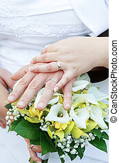 Bride and grooms hands with wedding rings with bouquet