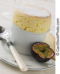 Hot Passion Fruit Souffle with Langue de Chat Biscuits