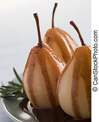 Pear Poached with Rosemary and a Chocolate sauce