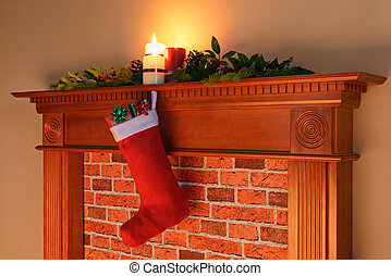 Christmas stocking fire glow - A Christmas stocking full of...