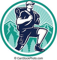 Hiker Hiking Mountain Retro - Illustration of a hiker hiking...