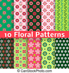 Different floral vector seamless patterns tiling - 10...