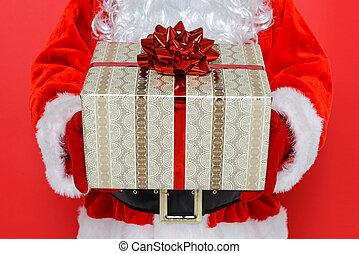 Santa giving you a present