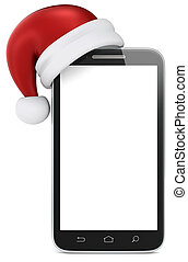 Merry Christmas. - Blank smartphone with Santa Claus hat....