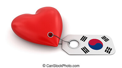 Heart with South Korean flag. Image with clipping path
