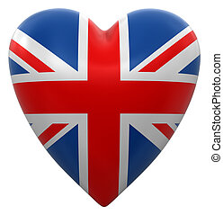 Heart with UK flag. Image with clipping path