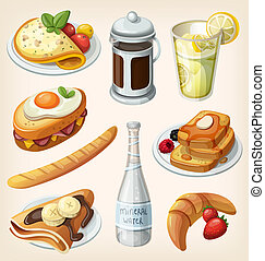 Set of french breakfast elements - Set of traditional french...