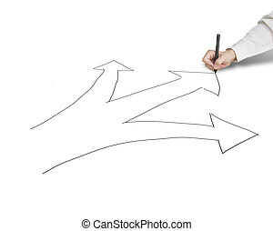 Businessman hold pen drawing 3 ways with arrow for...