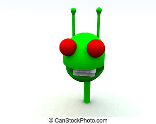 Little Green Man - A computer created image of a alien a...
