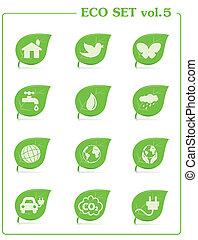 Ecology icon set, v4. Leaf nature icons
