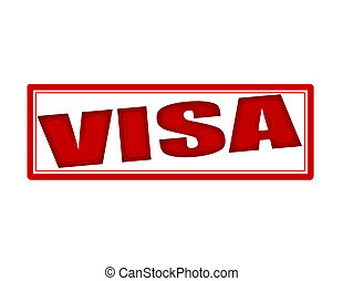 Visa - Stamp with word visa inside, vector illustration