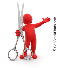 Man and Scissors Image with clipping path