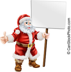 Santa holding sign and doing thumbs up - Cartoon...
