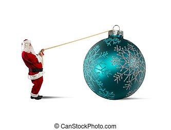 Santa Claus with big Christmas ball - Santa Claus with big...