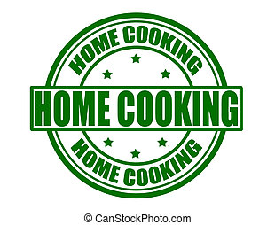 Home cooking - Stamp with text home cooking inside, vector...