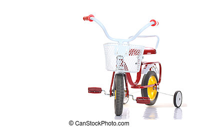 Colorful tricycles isolated on white background - Colorful...