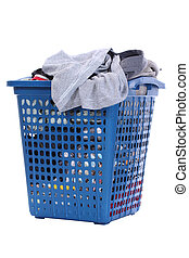 Clothes in a blue laundry basket , Isolated background