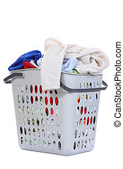 Baby clothes in a laundry basket , Isolated background
