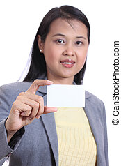 Business woman holding a  blank name card , Isolated on white background.