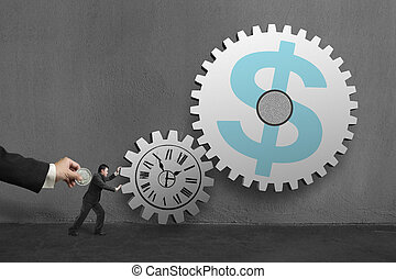 Businessman rolling large concrete gears another hold coin,...