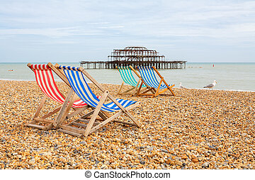 Brighton beach. Brighton, England - Deckhairs on Brighton...
