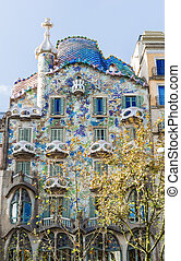 Facade of Casa Batllo, Barcelona - Barcelona, Spain...